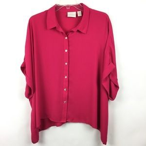 Chico's Sz 2 Top Pink Oversized Button Front Women